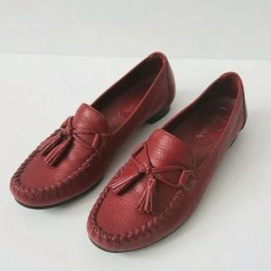 Cole Haan Red Leather Loafers Tassels Low Heel 6